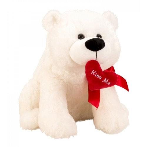 IKO Romantische ijsbeer Pluche - knuffel - 39 cm - Rood hartje 'Kiss Me'