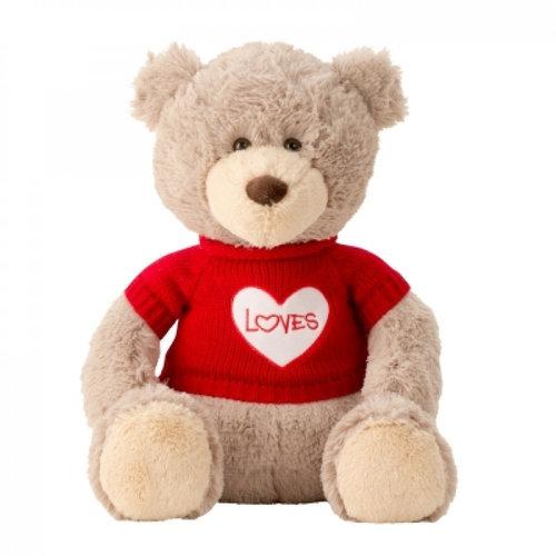 IKO Romantische beertje Pluche - knuffel - 43 cm (zittend) - Rode trui 'LOVES'
