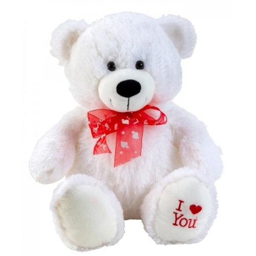 IKO Romantisch beertje Pluche - Rode Strik - 35 - 50 cm - Hartje op voet 'I Love You'