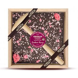 Comptoir de Mathilde Chocolade pakket met Hamertje - Pure Chocolade met Roze Pralines