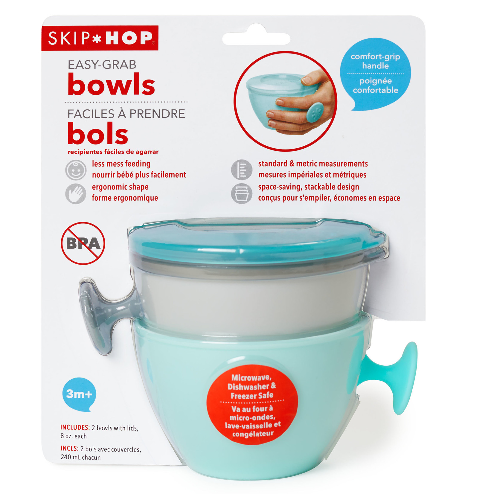 SKIP HOP Easy-Grab Bowls-Grey/Soft Teal