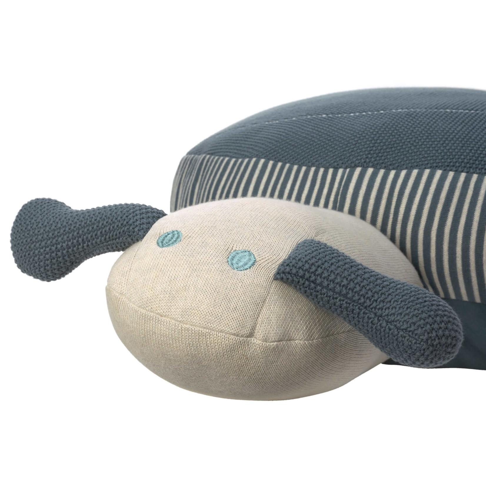 Lässig Knitted Pouf L Garden Explorer Snail blue