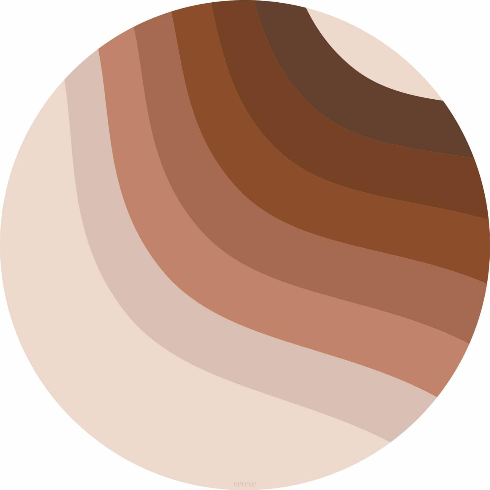Eeveve Eeveve Round Splash Mat Retro Lines - Brown