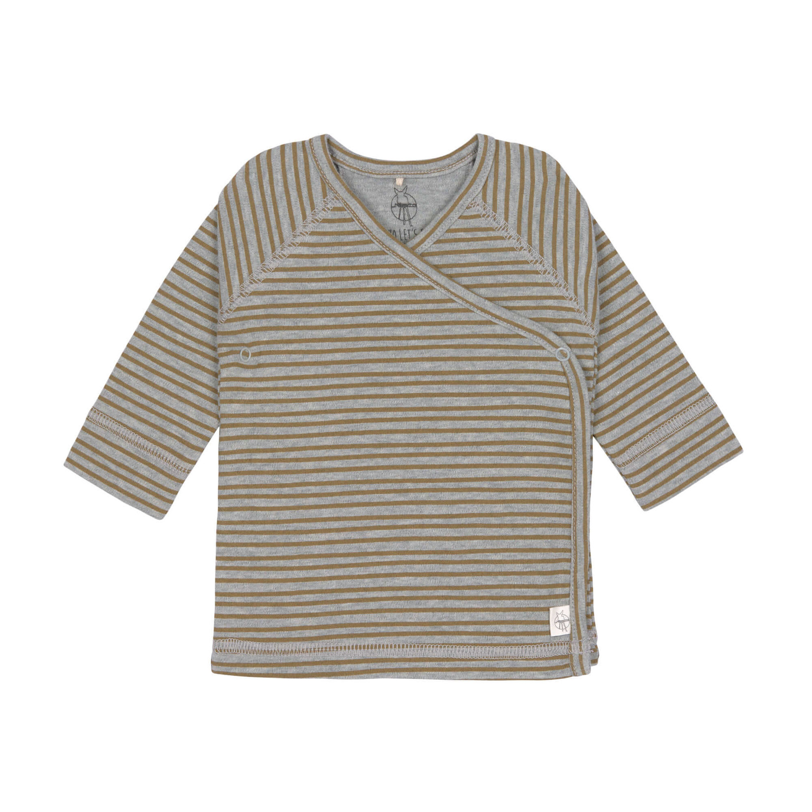 Lässig Kimono Shirt  Gots  Striped Grey Melange