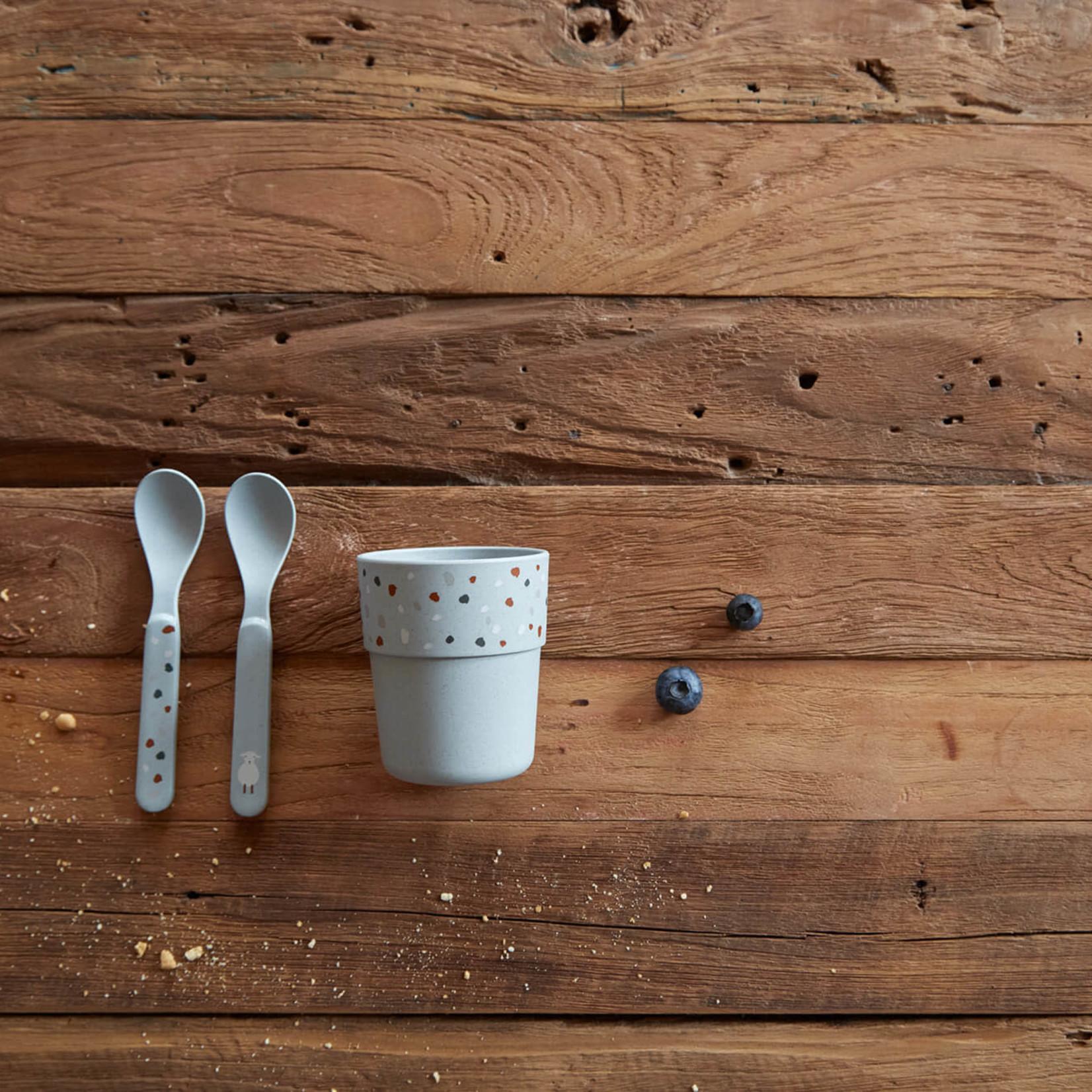 Lässig Spoon Set PP/Cellulose Tiny Farmer Sheep/Goose Blue