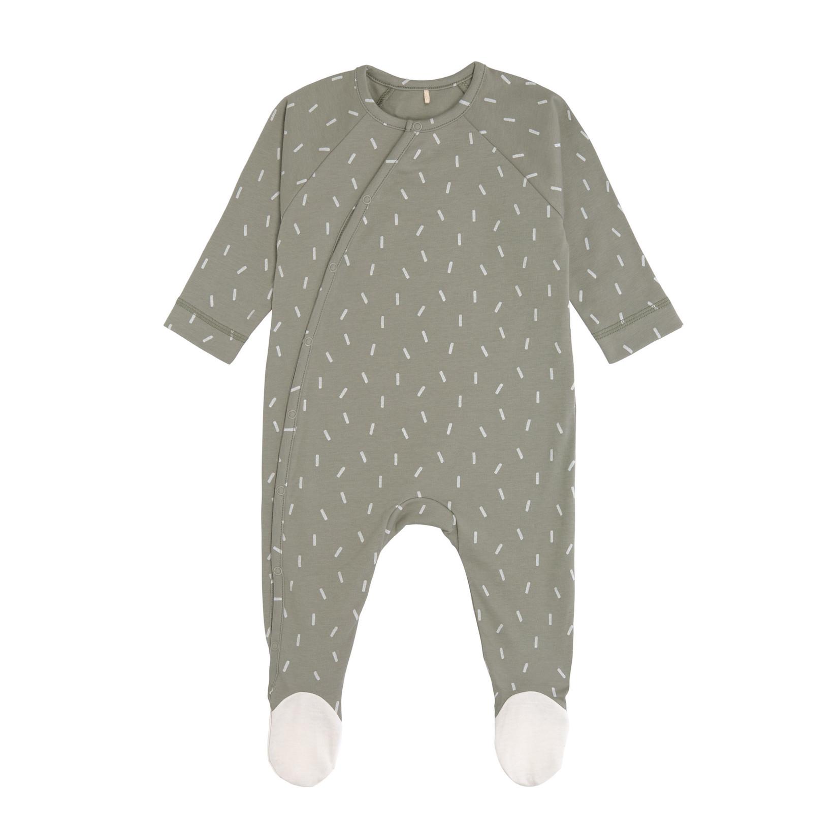 Lässig Pyjama with feet  Gots  Speckles Olive