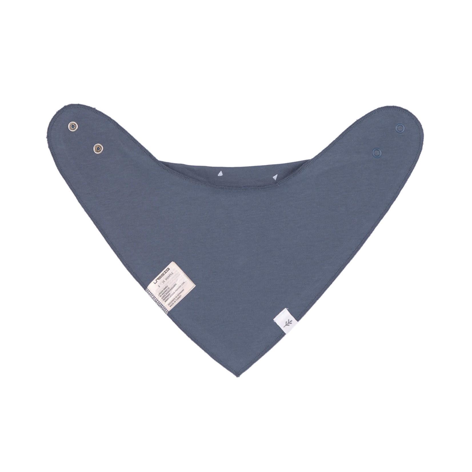 Lässig Interlock Bandana cowl-neck, 2 pcs. GOTS Triangle blue/Striped grey melange