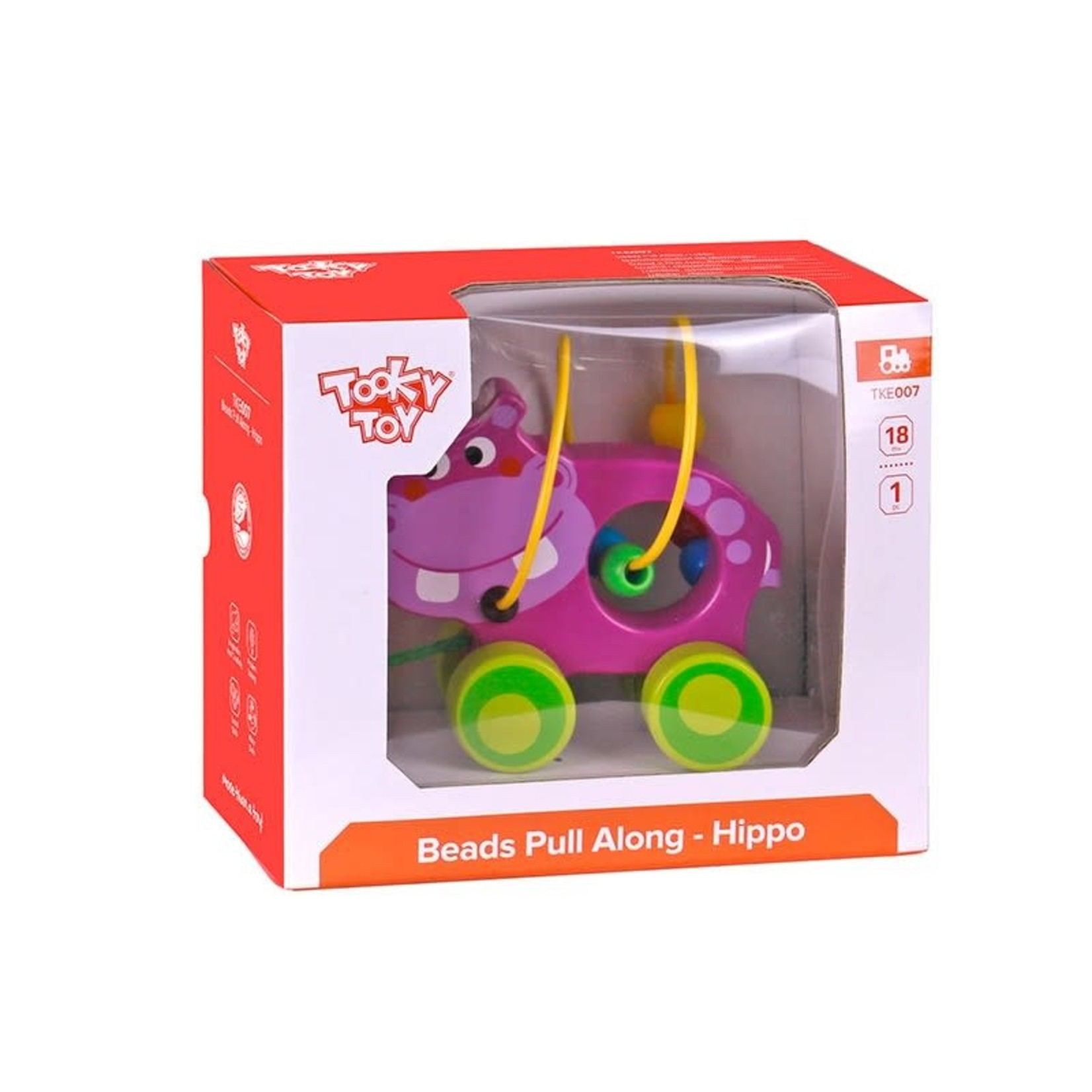 Tooky Toy Beads Pull Along - Hippo