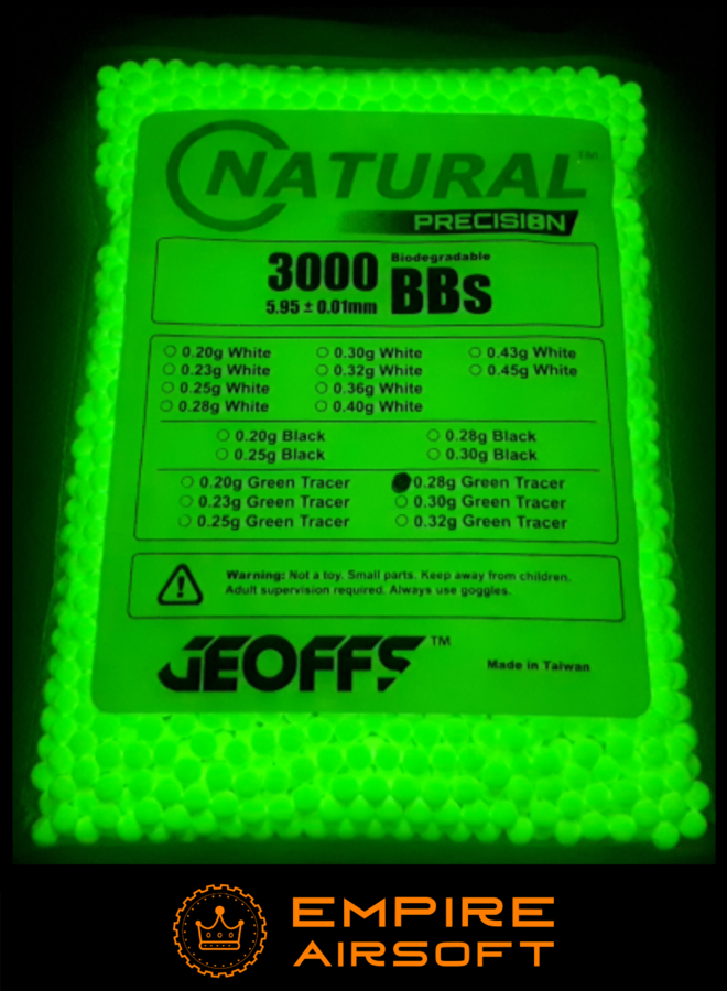 NATURAL PRECISION™ BIO BBS 0.28G 3000 GREEN TRACER