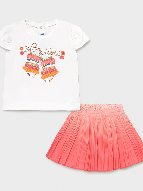 Mayoral skirt set   Coral