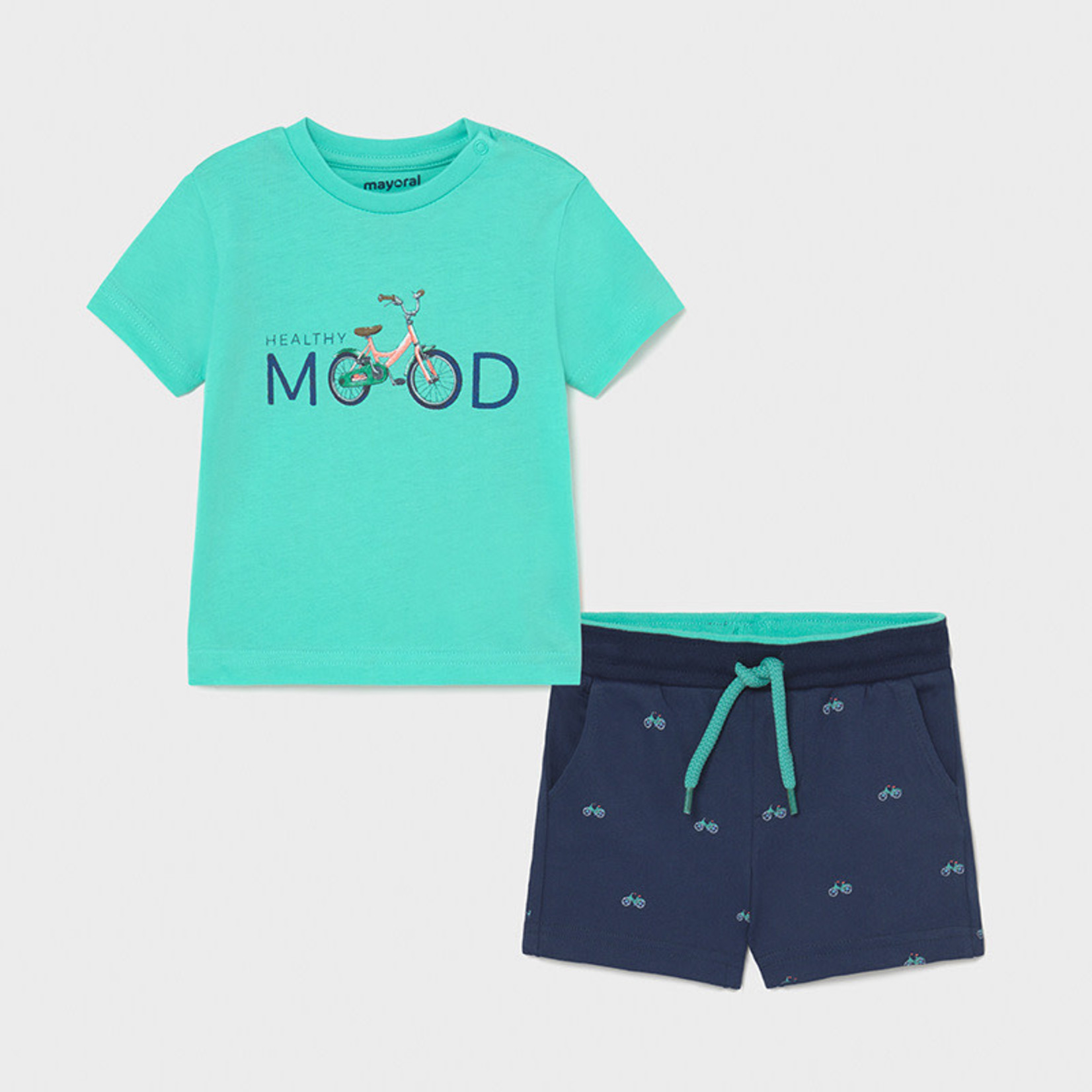 Mayoral printed shorts set    Aqua