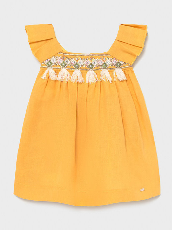 Mayoral Linen dress Mustard