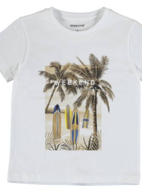 """Mayoral s/s t-shirt """"weekend vibes""""  White"""