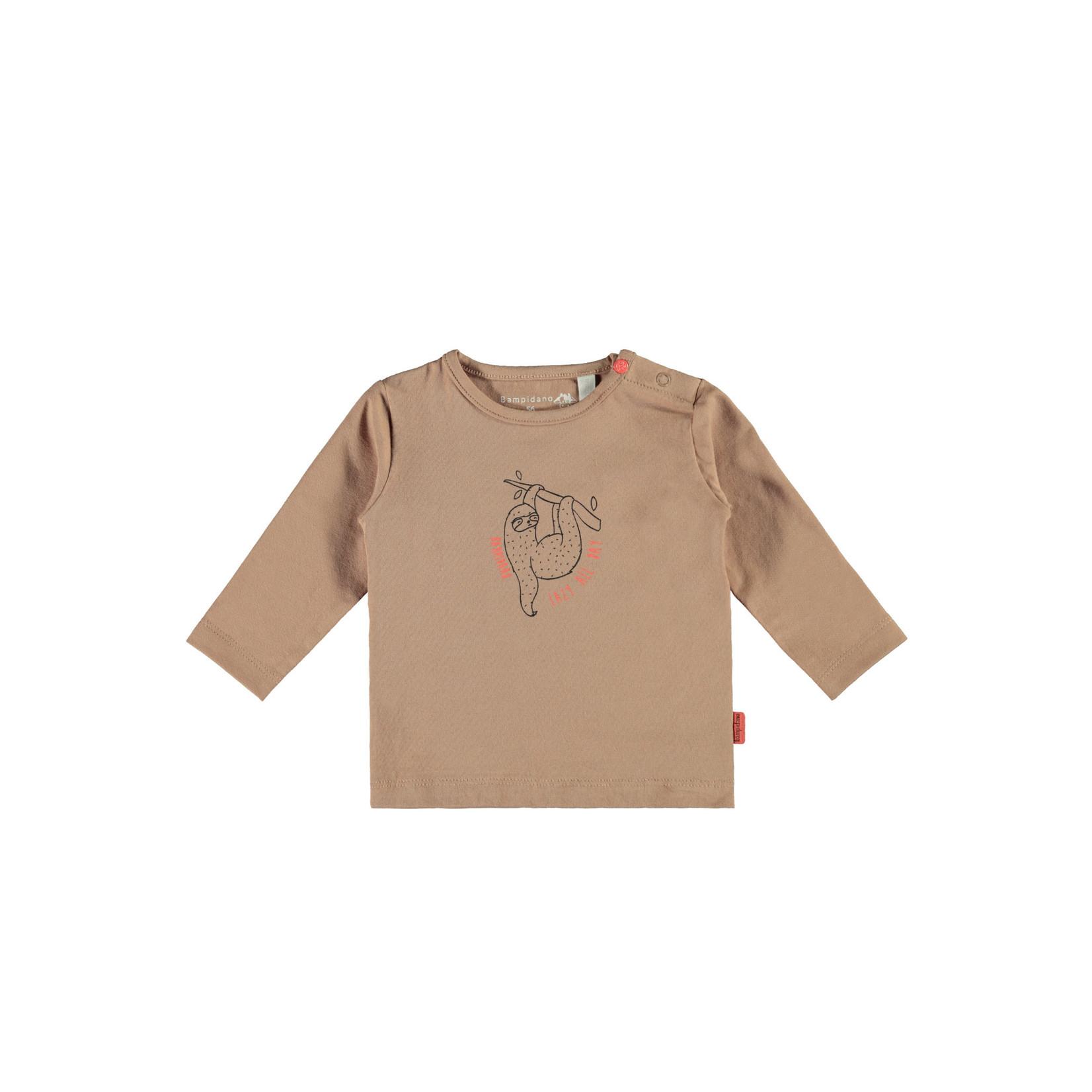 Little Bampidano Little Bampidano newborn longsleeve Fynn plain with print SLOTH