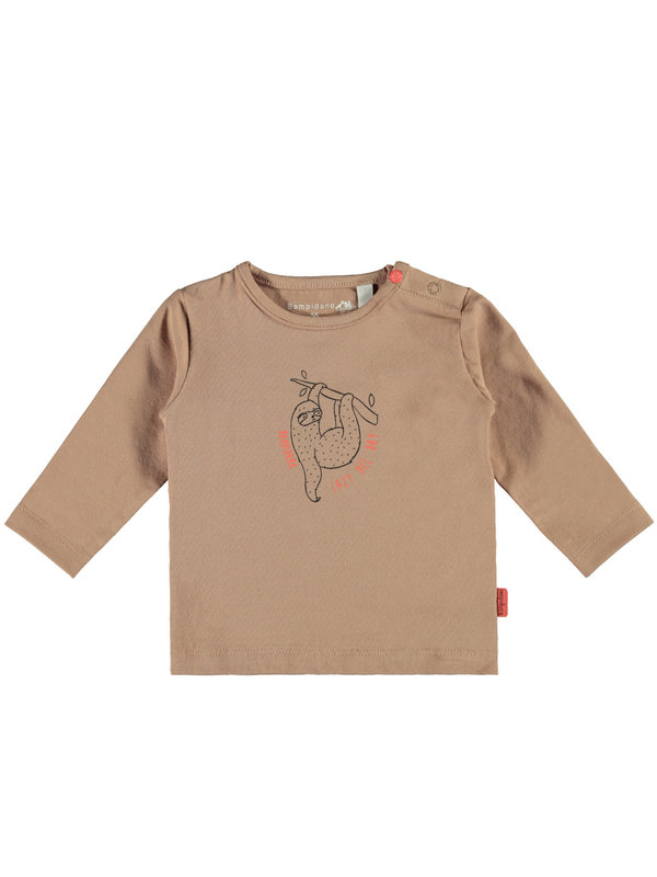 Little Bampidano Little Bampidano newborn longsleeve Fynn plain with print SLOTH