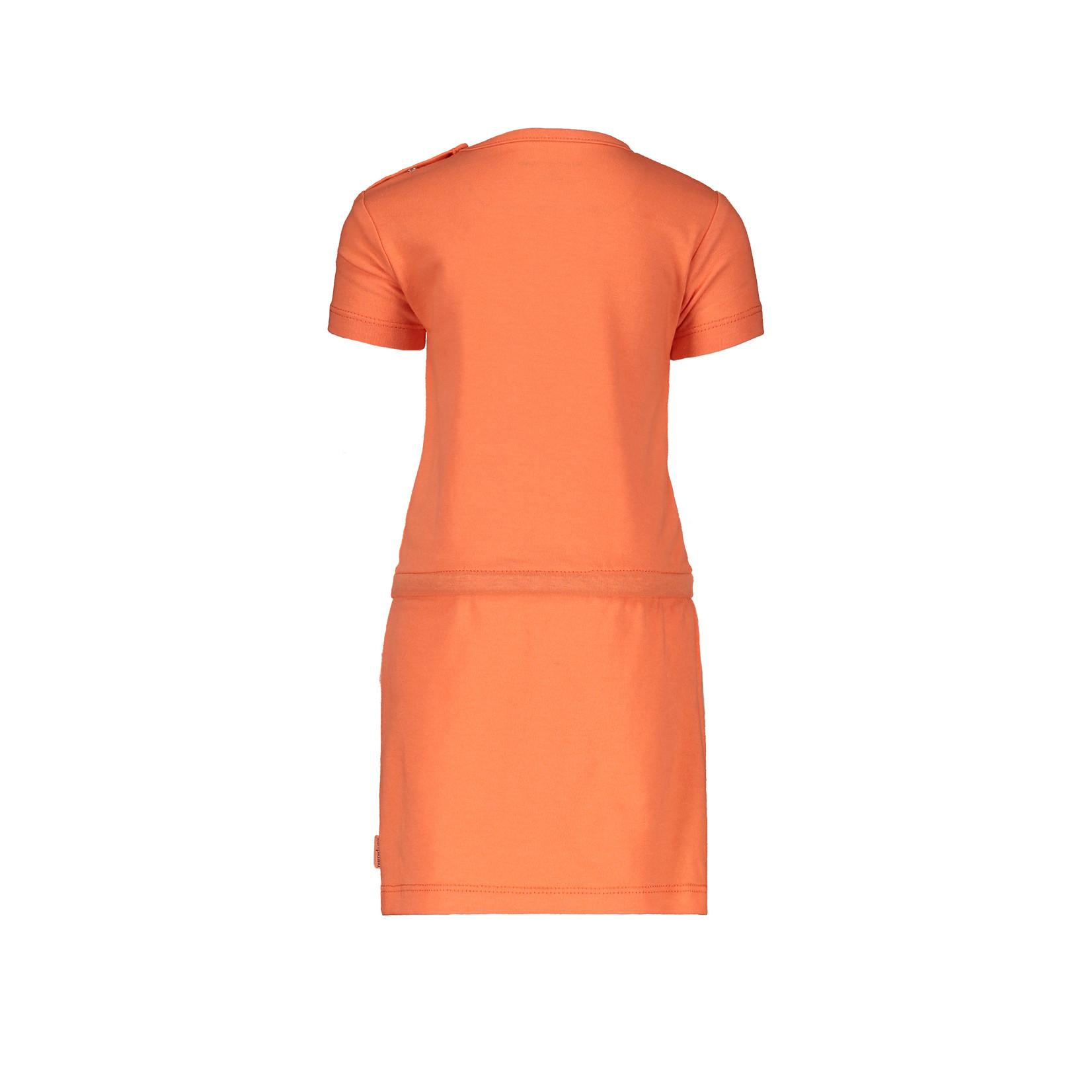 Bampidano Little Bampidano Girls short sleeve dress Dunja plain with waist cord FLOWER