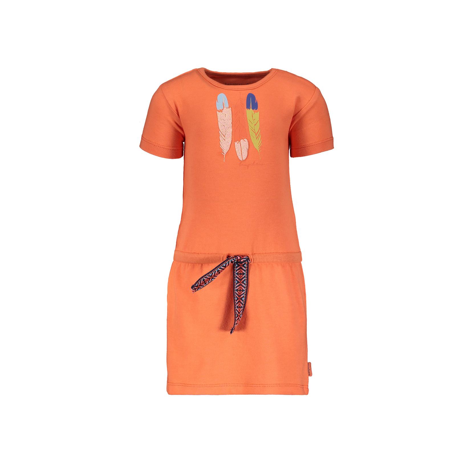 Little Bampidano Girls short sleeve dress Dunja plain with waist cord FLOWER
