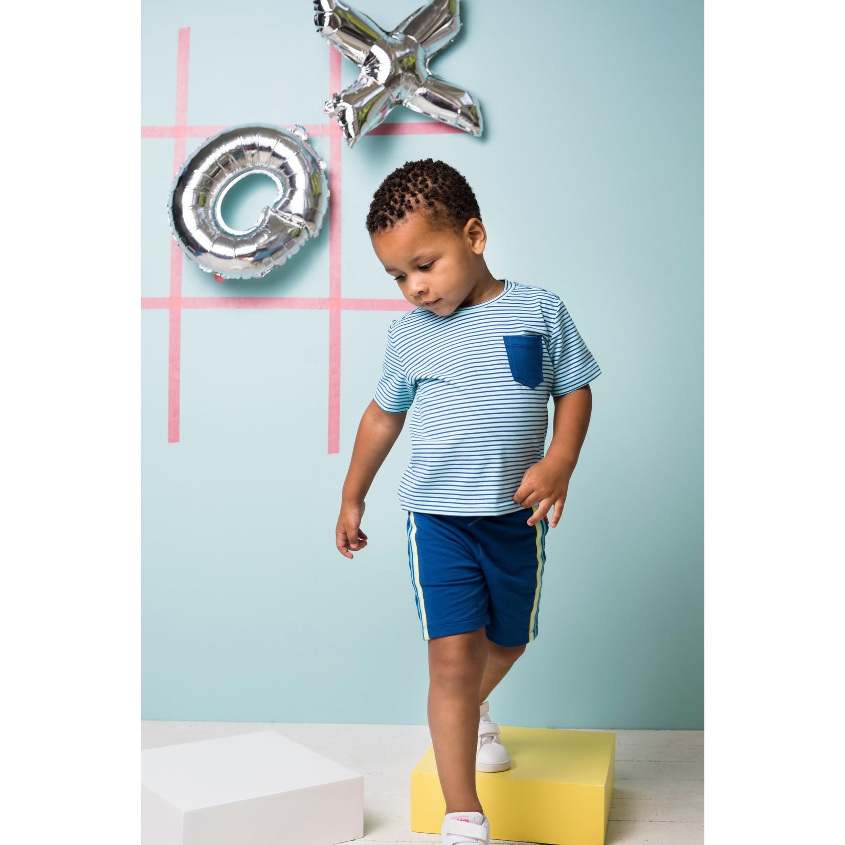 Bampidano Bampidano Junior Boys sweat shorts Eliah with striped tapes + waistcord CACTUS