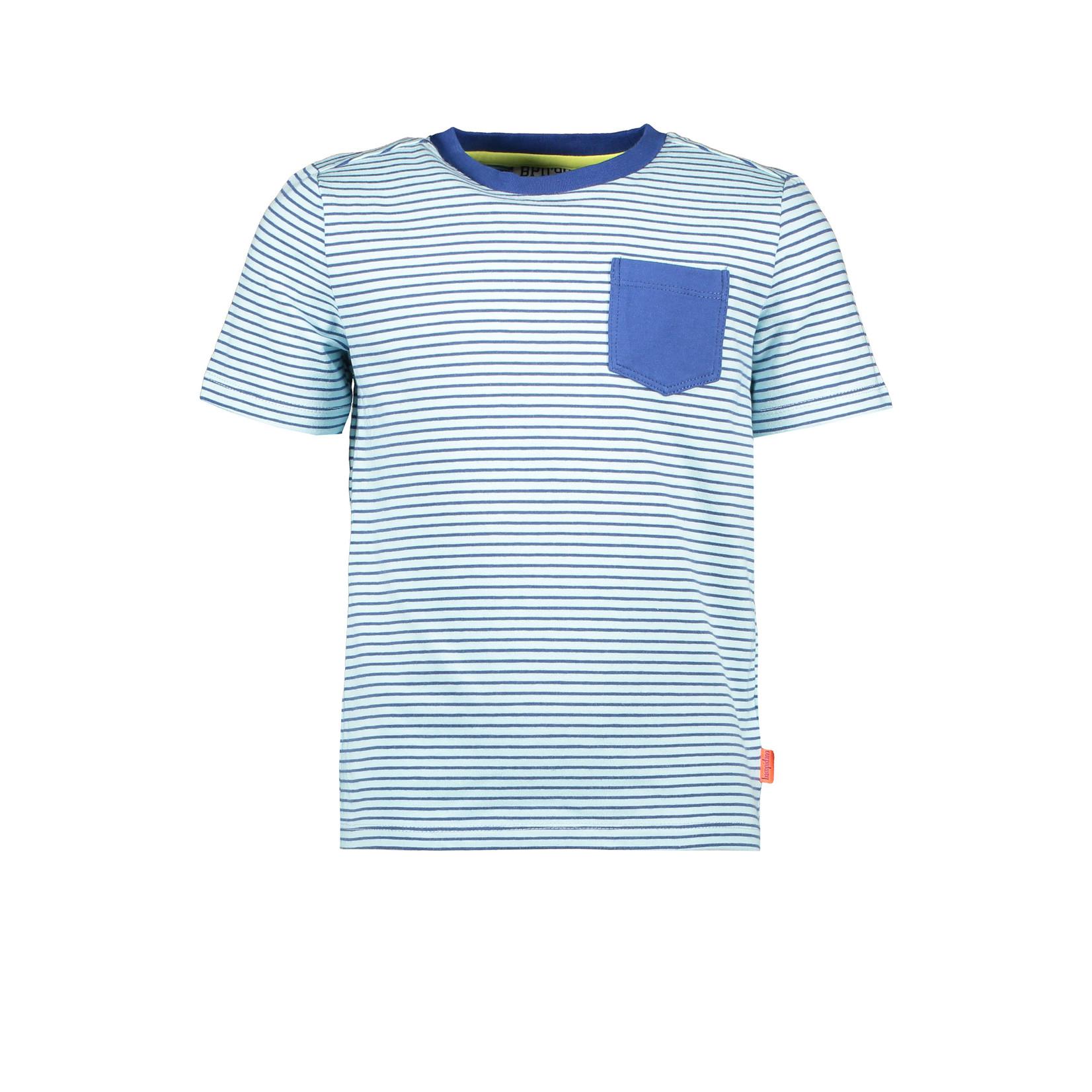 Bampidano Bampidano Junior Boys short sleeve T-shirt Ewan AO/yd stripe + chest pocket CACTUS