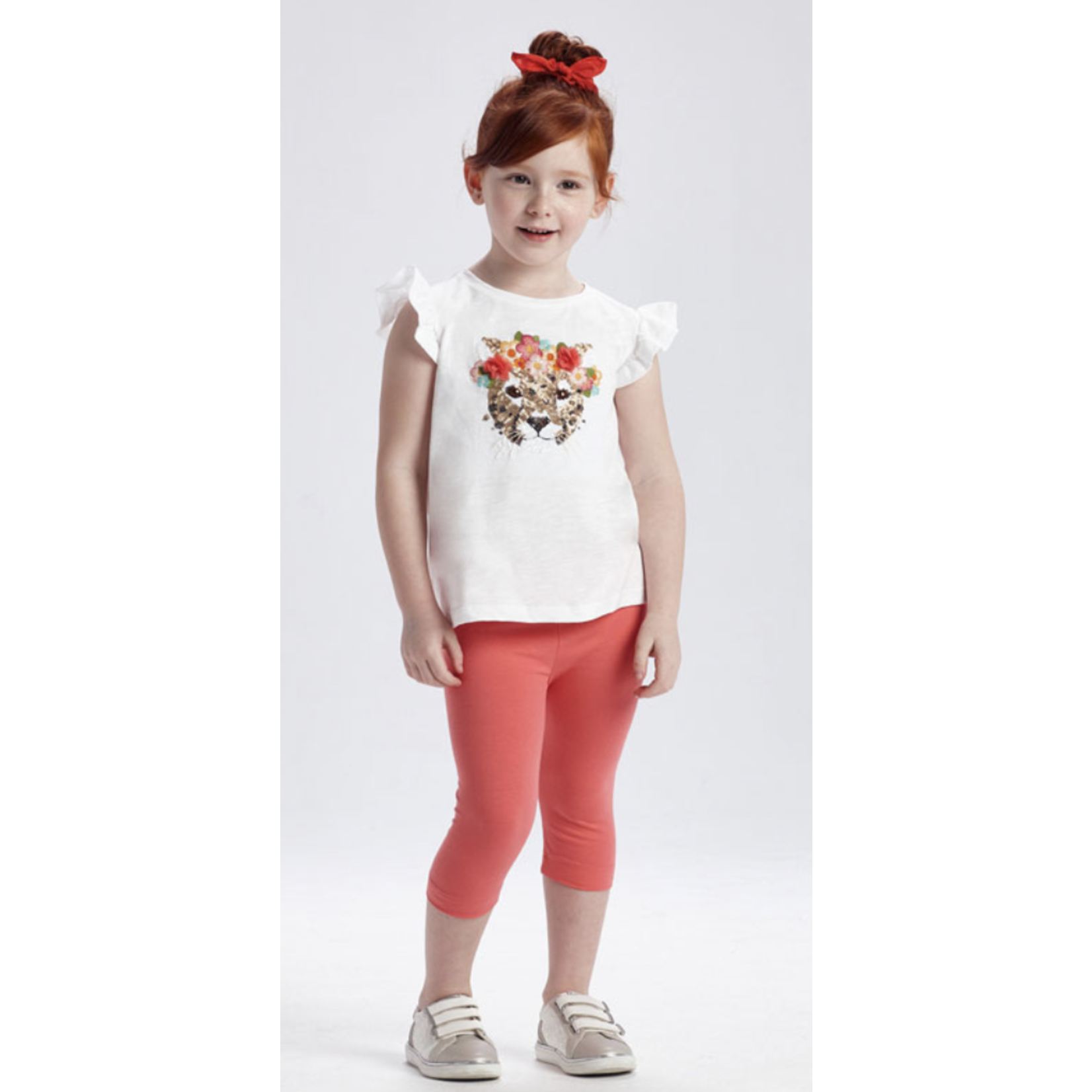 Mayoral pant set with sequin pirate Coral