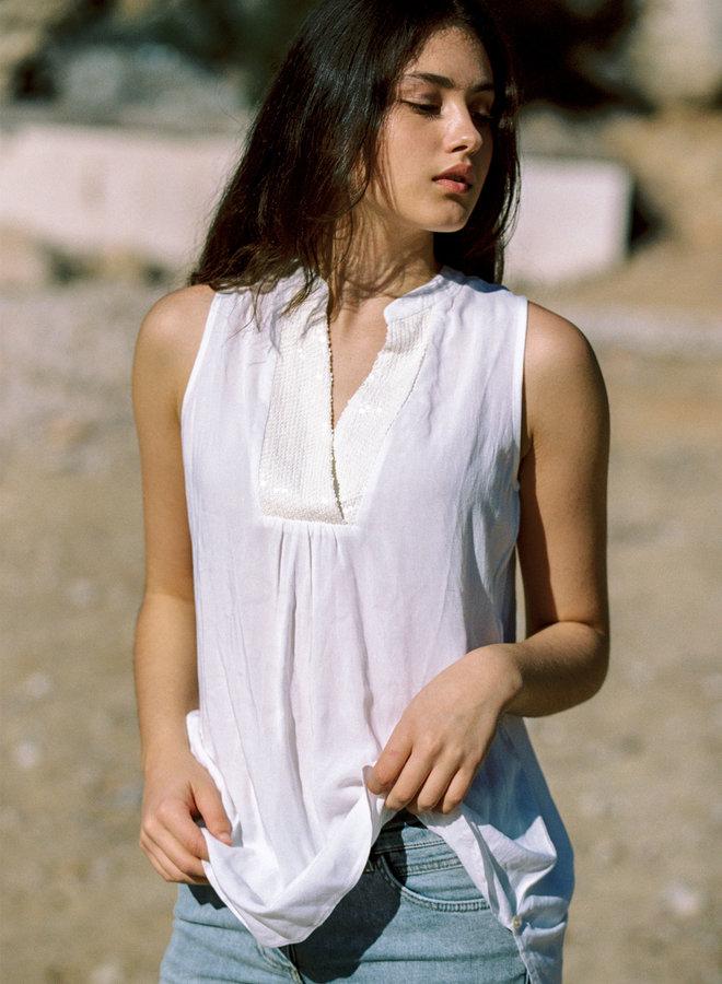 Blouse wit mouwloos - Isla Ibiza