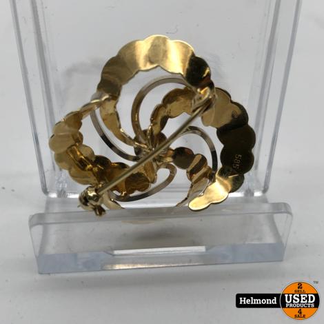 Gouden Broche Wit en Geel Goud 14   In Prachtige Staat