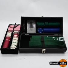 Merkloos Poker set in Kunstlederen kist   In Nette Staat