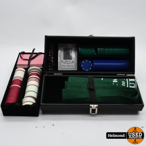 Poker set in Kunstlederen kist   In Nette Staat