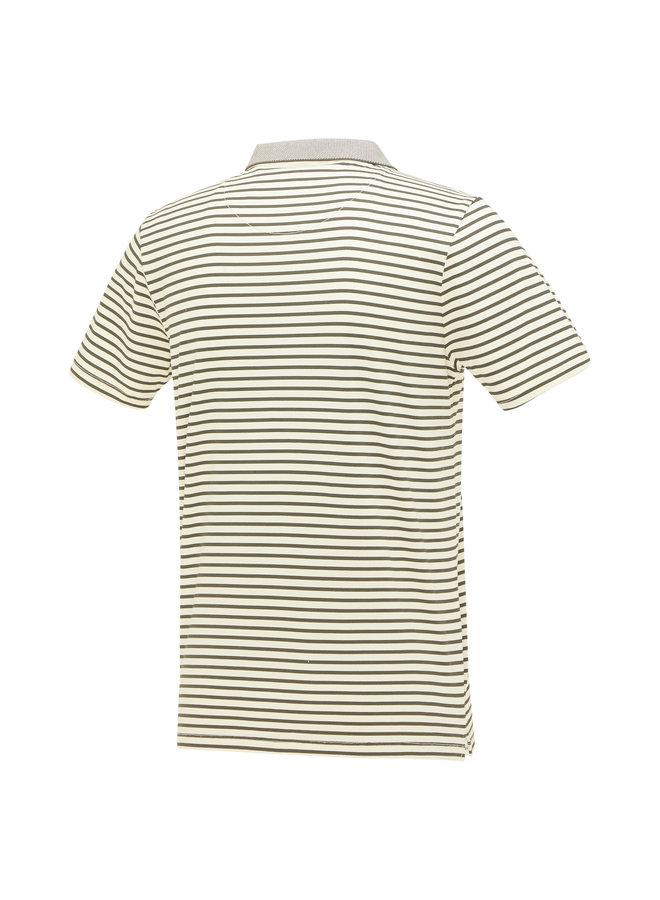 Streep Olijf - Groen / Wit Knitted
