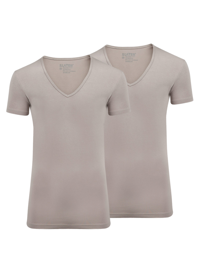 T Shirt Basis Diepe V - Hals Ecru Stretch Two - Pack