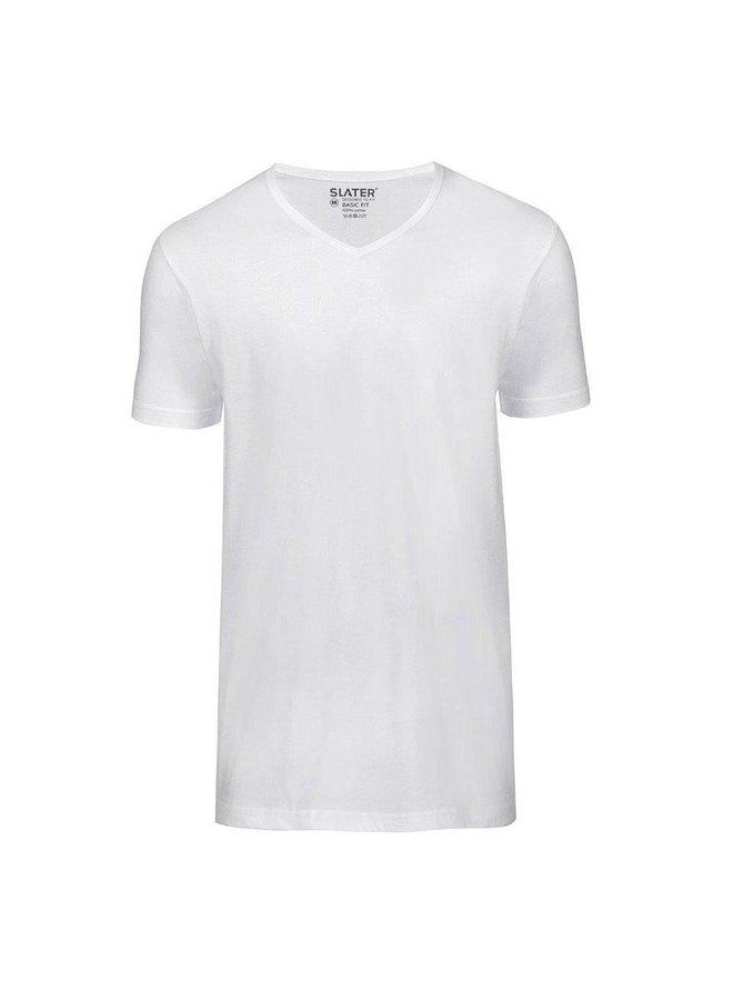 T Shirt Basis Diepe V - Hals Wit Two - Pack