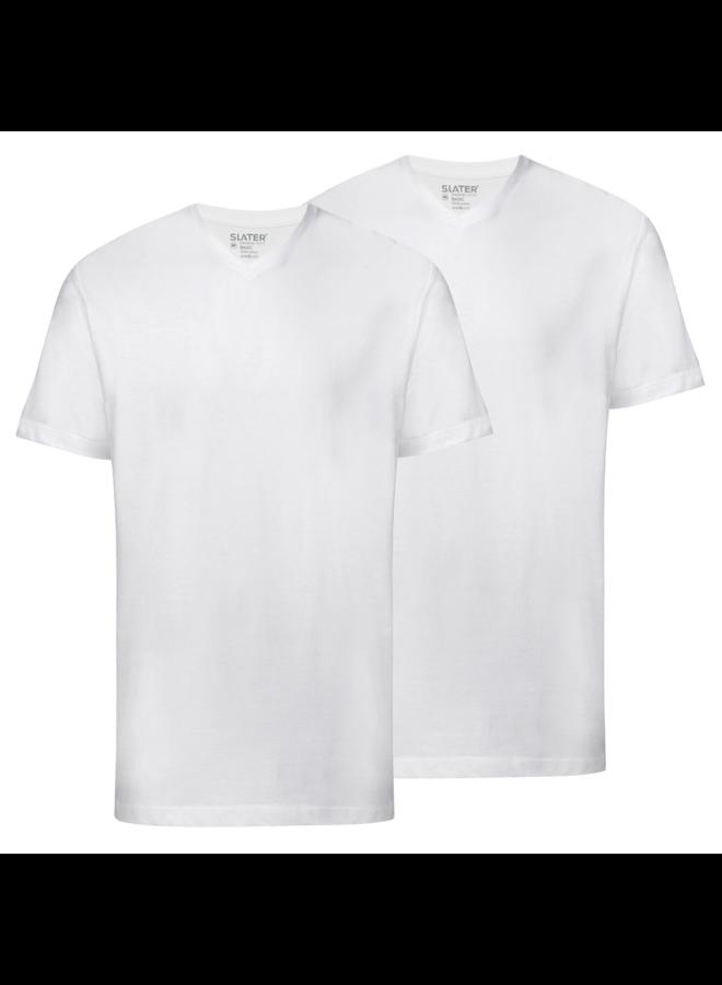 T Shirt Basis Kleine V - Hals Wit Two - Pack
