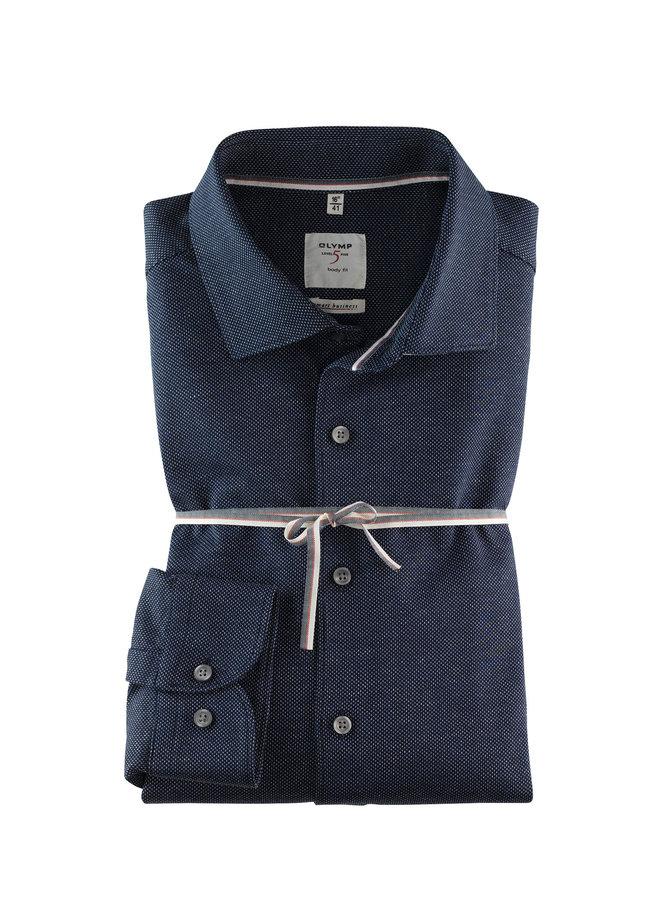 Uni Donker - Blauw Melange Knitted Body Fit