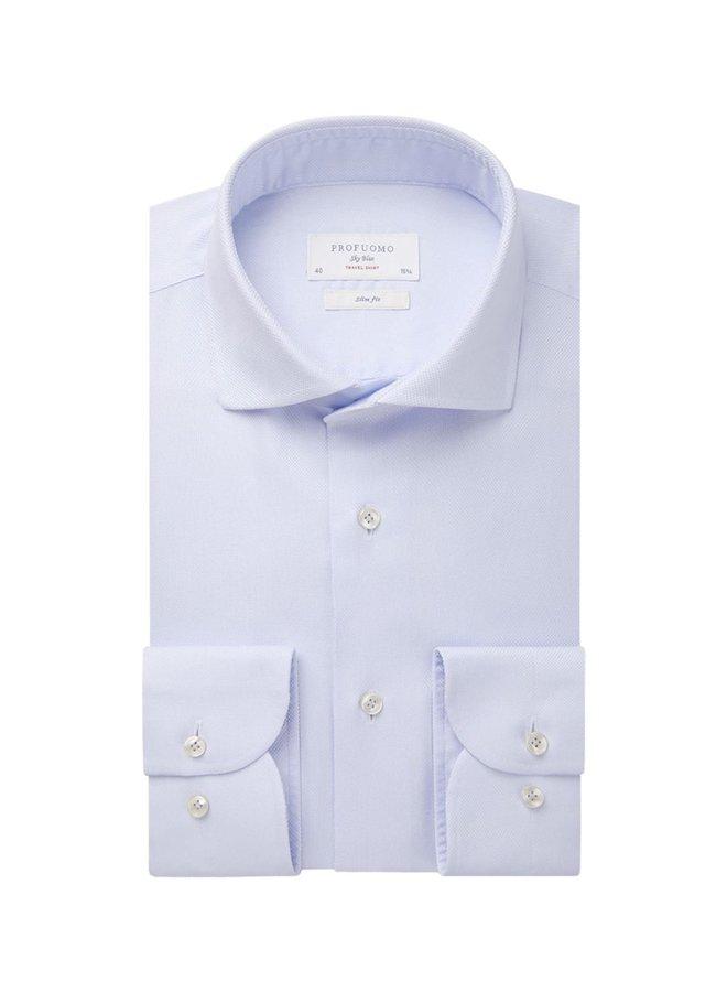 Uni Licht - Blauw Structuur Travel Shirt