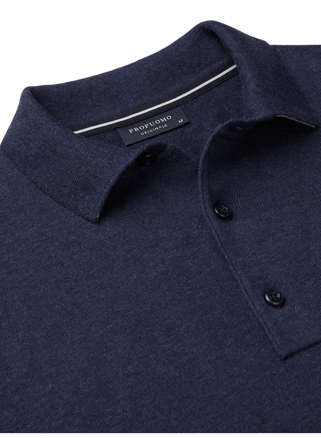 Uni Donker - Blauw Knitted Polo LM