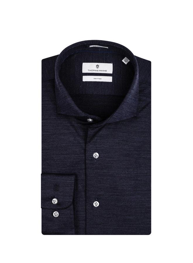Uni Donker - Blauw Merino Wol Knitted