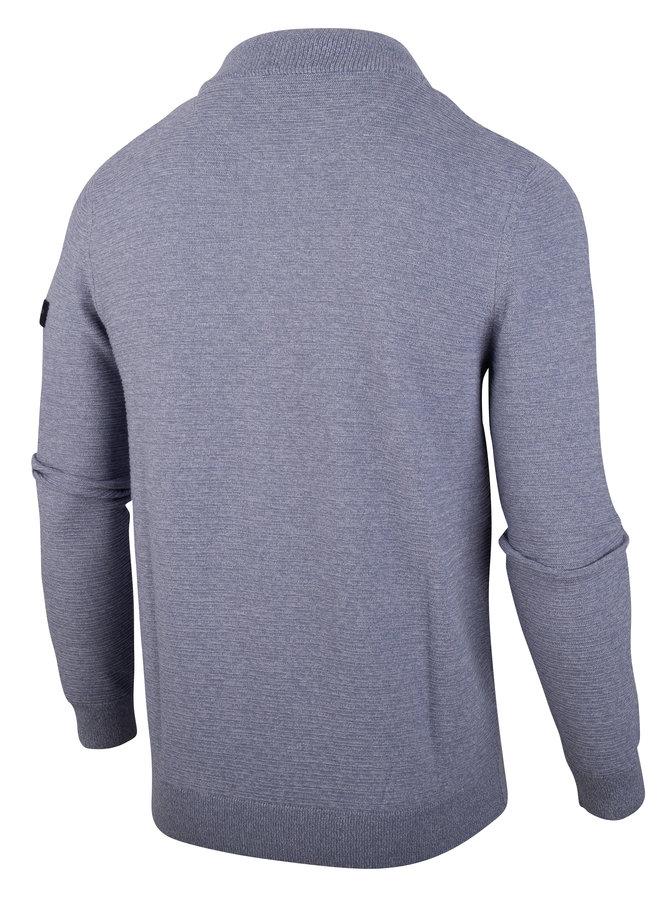 Uni Licht - Blauw Melange - Structuur Cardigan