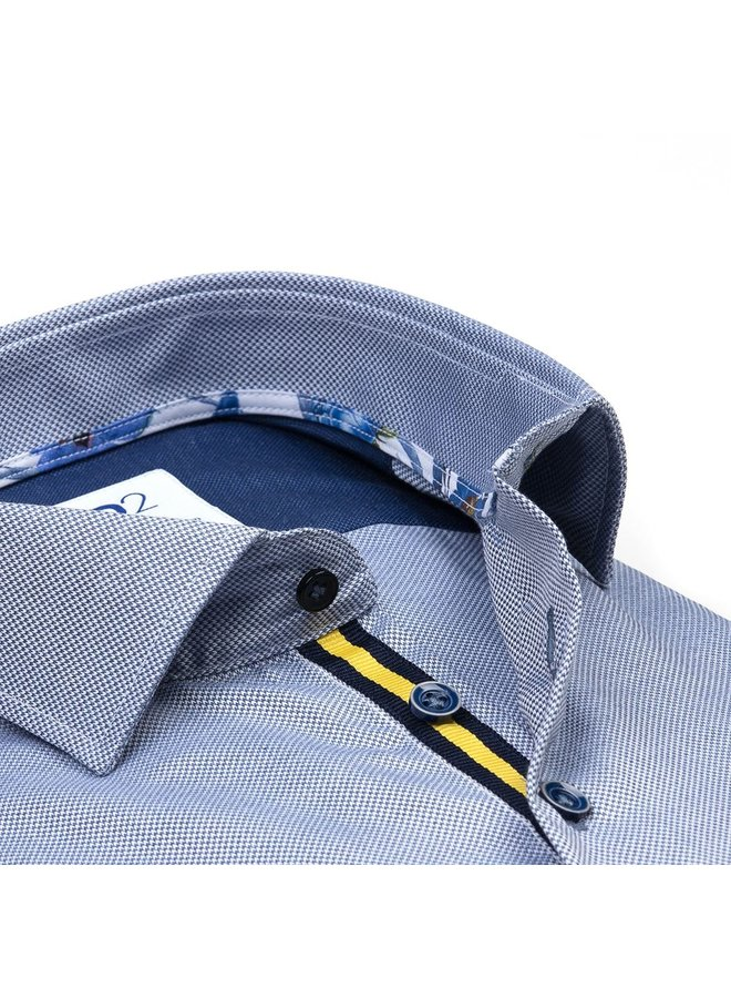 Uni Jeans - Blauw Visgraat - Kraag Flower Blauw / Groen