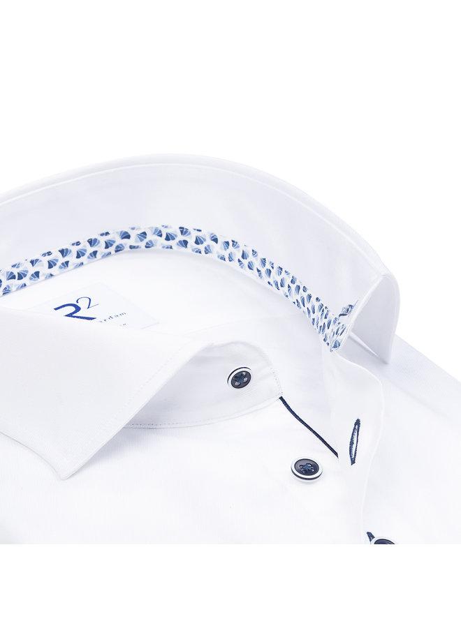 Uni Wit Kraag Waaier - Patroon Blauw / Wit