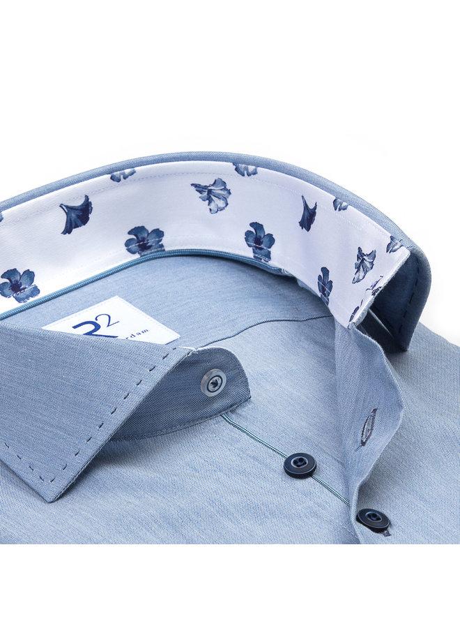 Uni Jeans - Blauw Kraag Print Flower Blauw / Wit