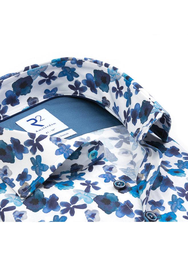 Print Flower Turquoise / Blauw / Wit
