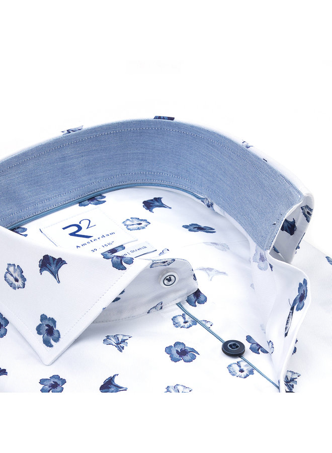 Print Flower Jeans - Blauw / Wit - Kraag Uni Jeans - Blauw