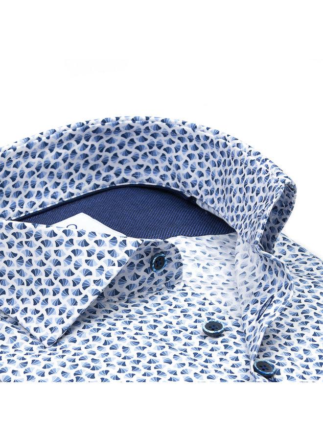 Print Blauw / Wit - Waaier Patroon