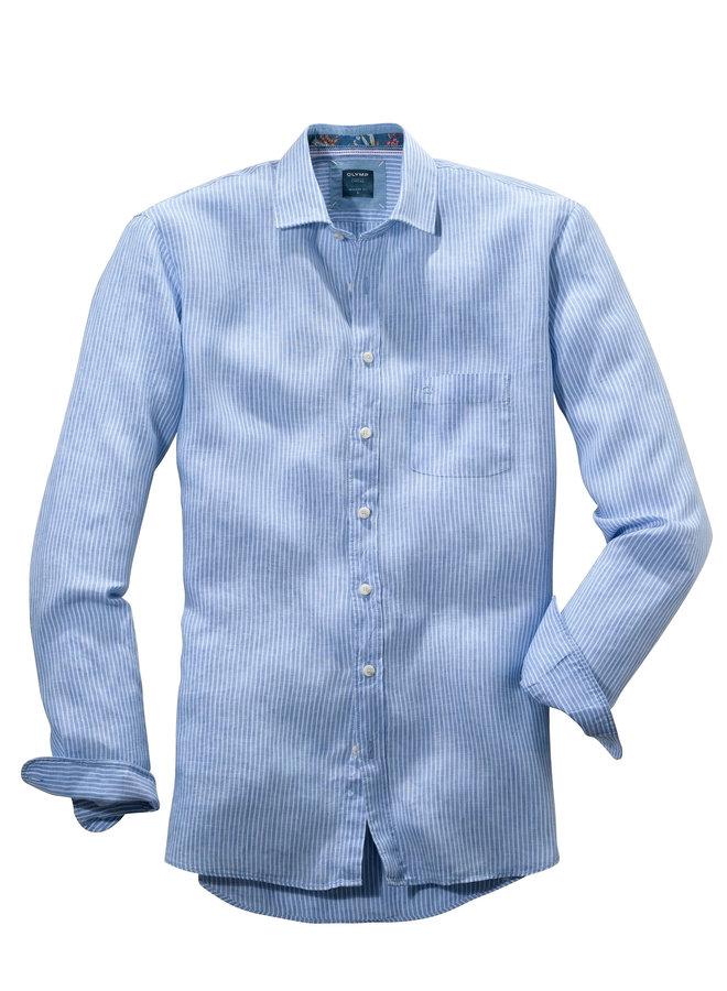 Streep Licht - Blauw Modern Fit 100% Linnen