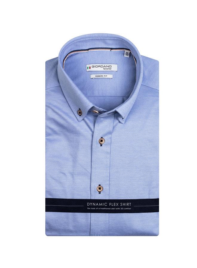 Uni Licht - Blauw Knitted - Button - Down KM