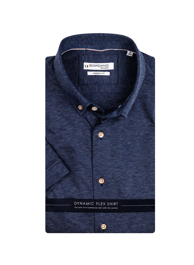 Uni Donker - Blauw Knitted - Button - Down KM