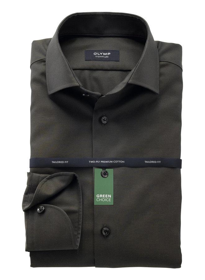 Uni Donker - Groen Twill - Tailored Fit