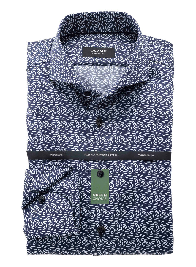 Print Patroon Navy / Wit - Tailored Fit