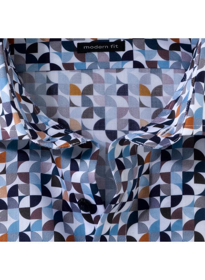 Print Cirkel Motief Brique / Blauw / Bruin - Modern Fit