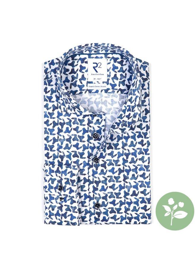 Print Blauw / Wit Grof Structuur - Modern Fit